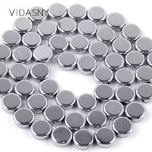 "6 8 10mm Natural Mineral Beads Smooth Flat Round Silver Hematite Stone Beads For Jewelry Making DIY Necklace Bracelet 15""(China)"