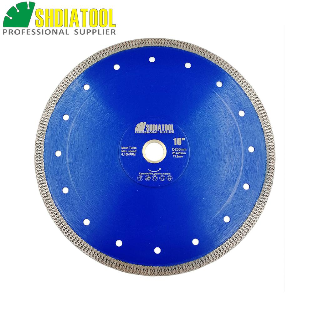 SHDIATOOL 1piece Dia 10inch/250mm Hot-pressed Sintered Diamond Blade Cutting Disc X Mesh Turbo Rim Segment Dry Or Wet Saw Blade