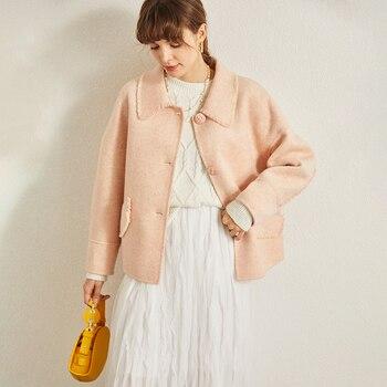 Маленькое двухстороннее кашемировое пальто, женское Короткое шерстяное розовое пальто с воротником для малышей, 2019