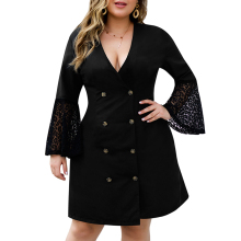 Plus Size Dress Women Black Button Dress Sexy Deep V Dress ropa mujer Elegant Dresses Party Vestido Flare Sleeve Lace Dress D30