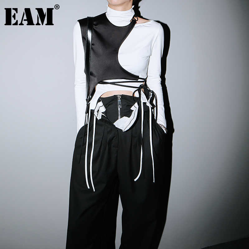 [EAM] Women Loose Fit [black Irregular Split Joint Short Vest New Round Neck Sleeveless   Fashion Tide Spring Autumn 2020 1DB598