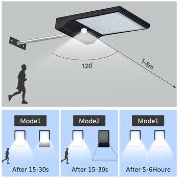 Mais Novo 450lm 36 Led De Energia Solar Luz Rua Pir Sensor Movimento Lâmpadas Jardim Lâmpada Segurança Ao Ar Livre Luzes Parede à Prova Dwaterproof água