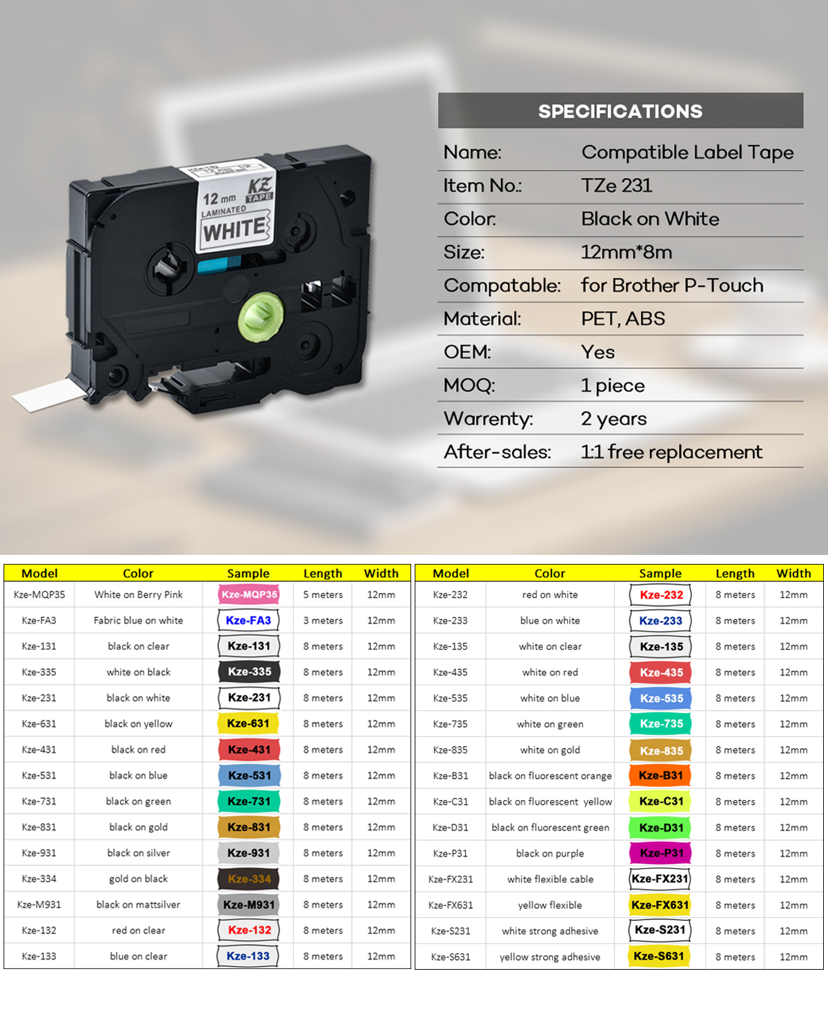 CIDY TZE 231 Multicolor and Waterproof Label Tape Compatible for Brother P Touch Label Printer 7