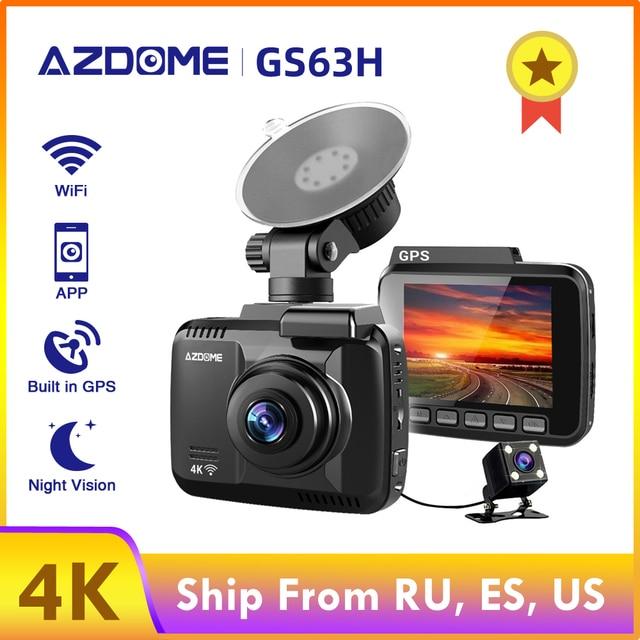 Cámara de salpicadero de coche AZDOME GS63H 4K 2160P cámara de salpicadero era lente Dual integrada GPS DVR grabadora Dashcam con WiFi g-sensor Grabación en bucle