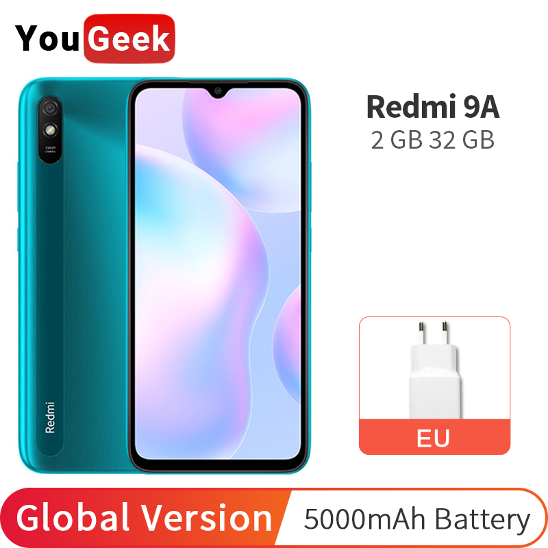 Оригинальная глобальная версия Xiaomi Redmi 9A 2 ГБ 32 ГБ 9 A Мобильный телефон 5000 мАч MTK Helio G25 Восьмиядерный 13 МП AI камера 6,53