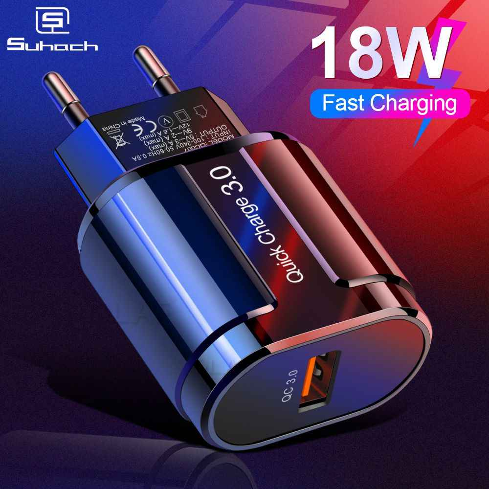 Suhach Pengisian Cepat 3.0 2.0 USB Charger untuk I Phone Xiaomi Samsung Huawei QC3.0 QC Cepat Charing Turbo Dinding Ponsel charger