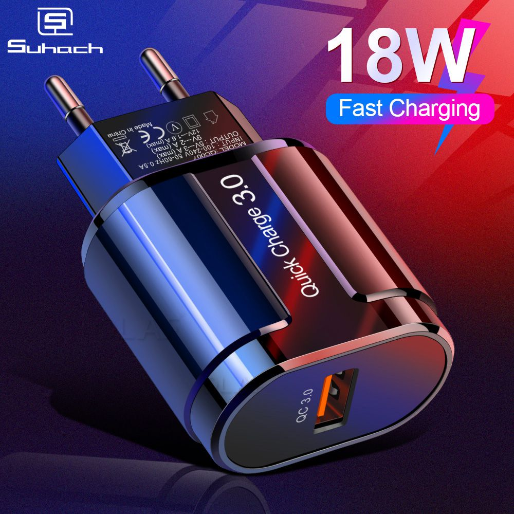 suhach Quick Charge 3.0 2.0 USB Charger For iPhone Xiaomi Samsung Huawei QC3.0 QC Fast Charing Turbo Wall Mobile Phone Charger