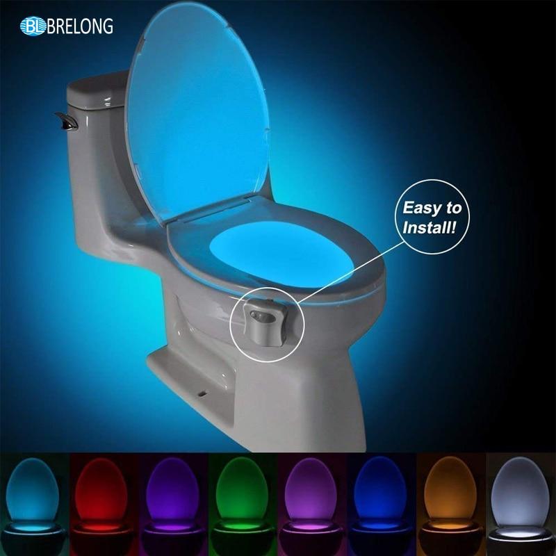 BREONG WC Toilet Light PIR Sensor Toilet Seat Night Light Intelligent Motion Sensor Bathroom LED 8 Color Automatic Backlit