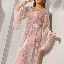 KANCOOLD dress Women Fashion Long Sleeve Sequin Mesh Suit Gown Long Two Piece