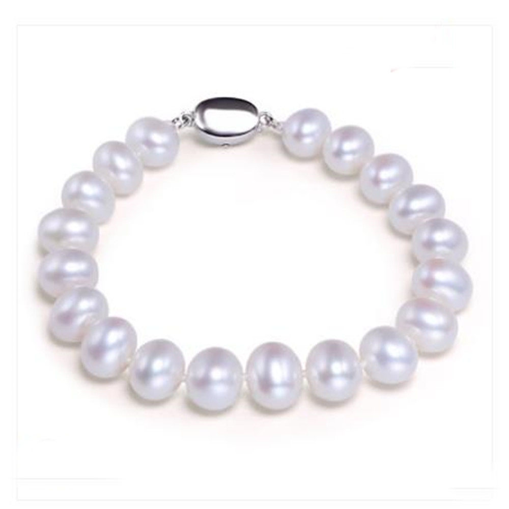 YKNRBPK White Natural Pearl Bracelets for Women Handmade Fine Jewelry Gifts 8-9MM Freshwater Pearl Bracelets Jewelry(China)