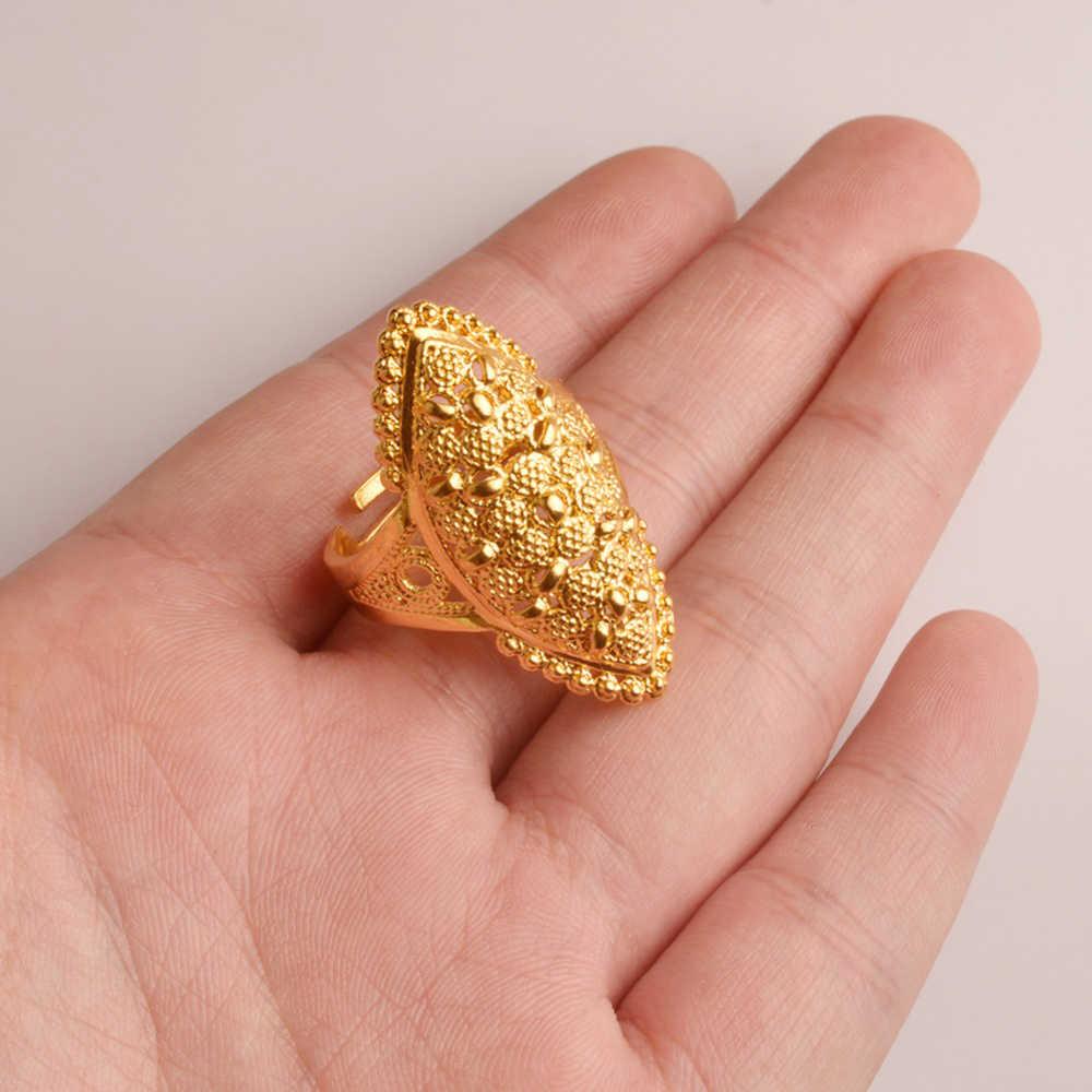 Anniyo Arab золото цвет свободный размер кольцо для женщин/подростков, Ближний Восток Дубай Свадебные украшения в эфиопском африканском стиле Вечерние подарок #093806