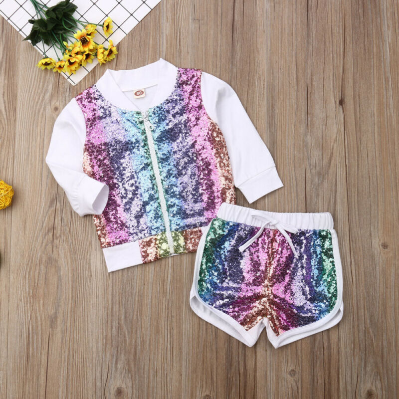 US Toddler Kid Baby Girl Fall Clothes Sequins Pullover Tops Jacket Shorts Outfit