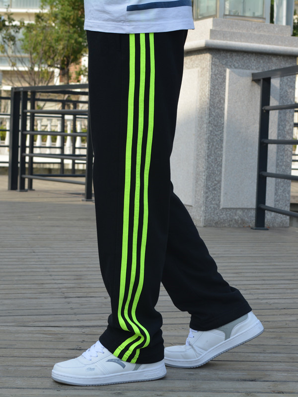 Spring And Autumn Large Size MEN'S Wear Summer Fat Thick-Long Pants Plus-sized Men's Athletic Pants Cotton Polyester Loose Casua