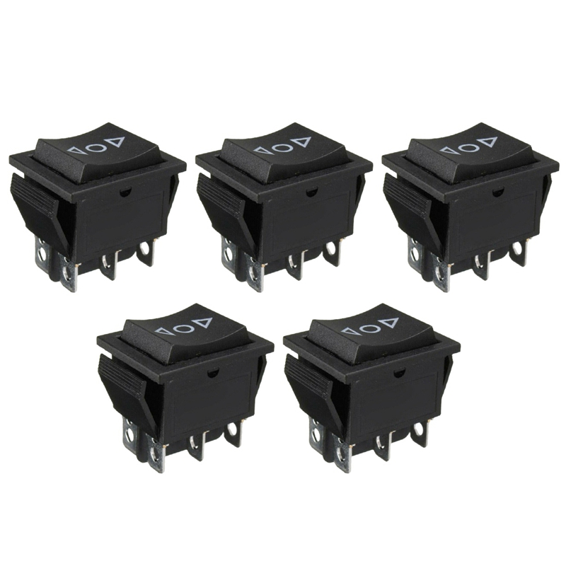 5PCS 3 Position 6 Pin Hoist Boat ON-OFF-ON Momentary Rocker Switch DPDT 16A 250V image