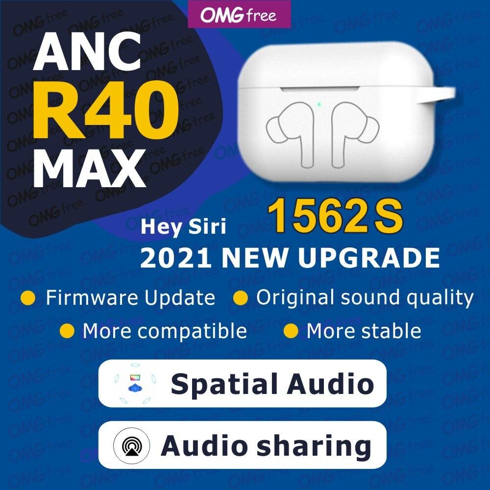 Novo r40 max tws 45db anc sem fio fones de ouvido bluetooth espacial áudio cancelamento ruído hd mic sensor luz pk air21 30