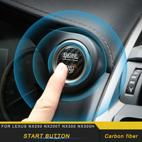 For LEXUS NX200 NX200t NX300 NX300h Car Engine Start Stop Button Real Carbon Fiber Circle Cover Trim Sticker Accessory