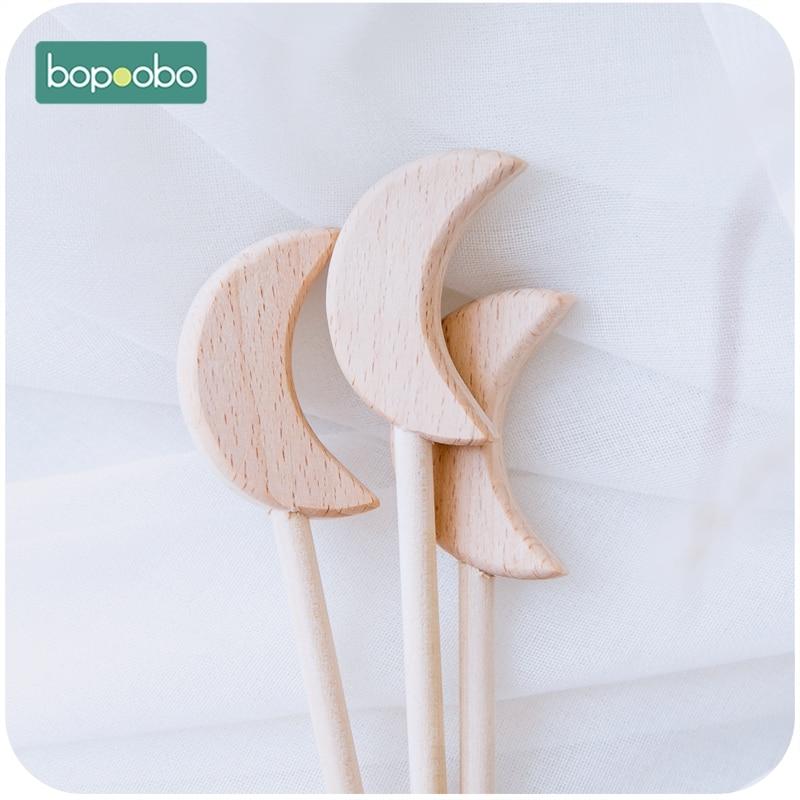 bopoobo 0 12months 20 pcs crianca bpa livre de madeira vara de fadas lua de madeira