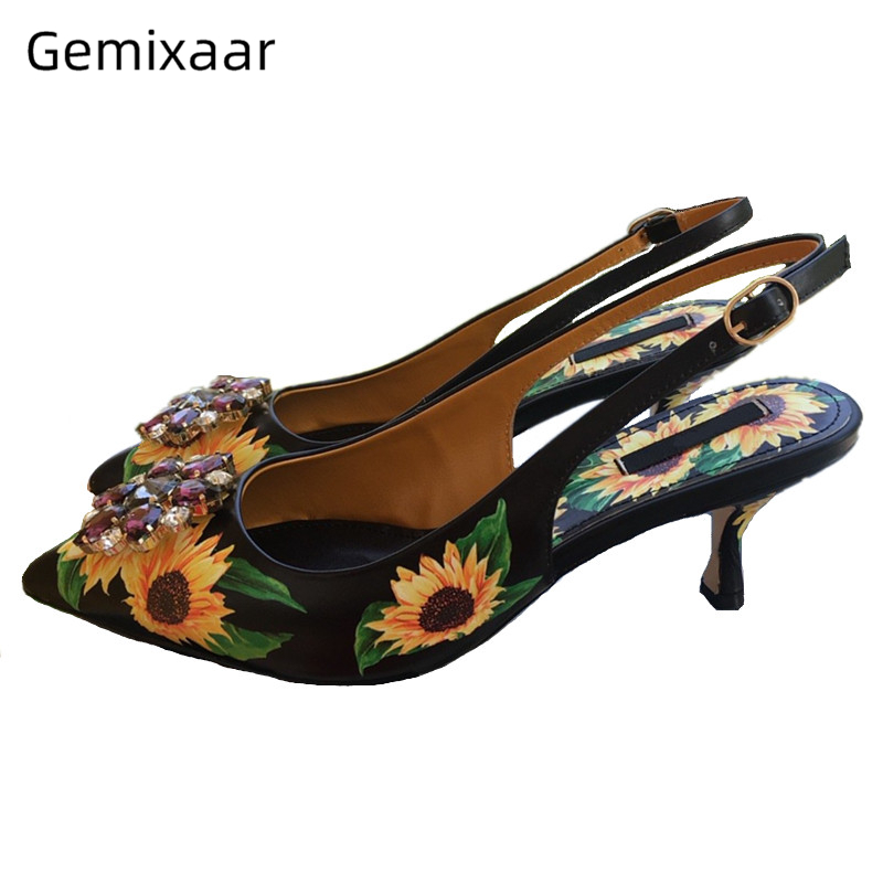 Sexy 2020 Spring Black Sunflower Mary Janes Pointy Toes Slingback Back Strap Crystal Rhinestone Buckle High Heel Pumps Women