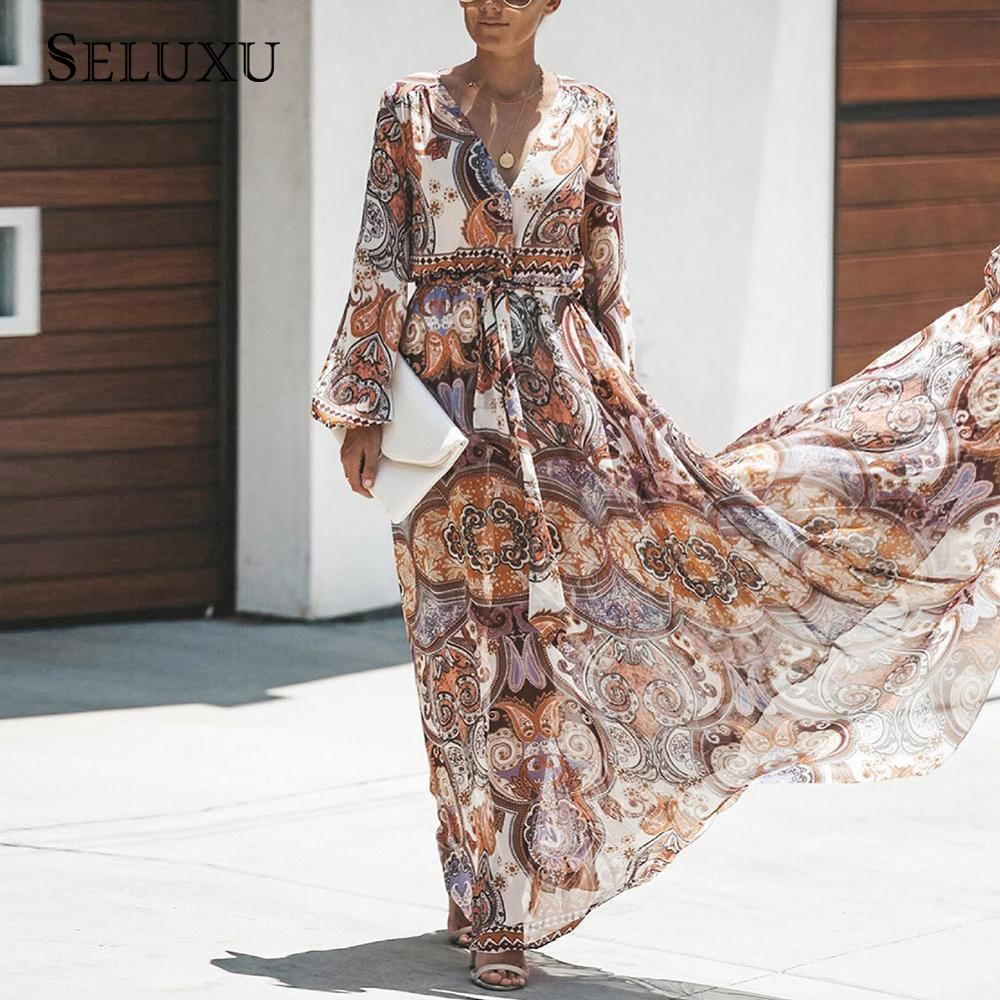 Seluxu 2019 Autumn Women Dress Long Sleeve Boho Dress V Neck Floral Print Dress Indie Folk Chiffon Dress High Waist Long Dress in Dresses from Women 39 s Clothing