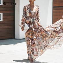 Seluxu 2019 Autumn Women Dress Long Sleeve Boho V-Neck Floral Print Indie Folk Chiffon High Waist