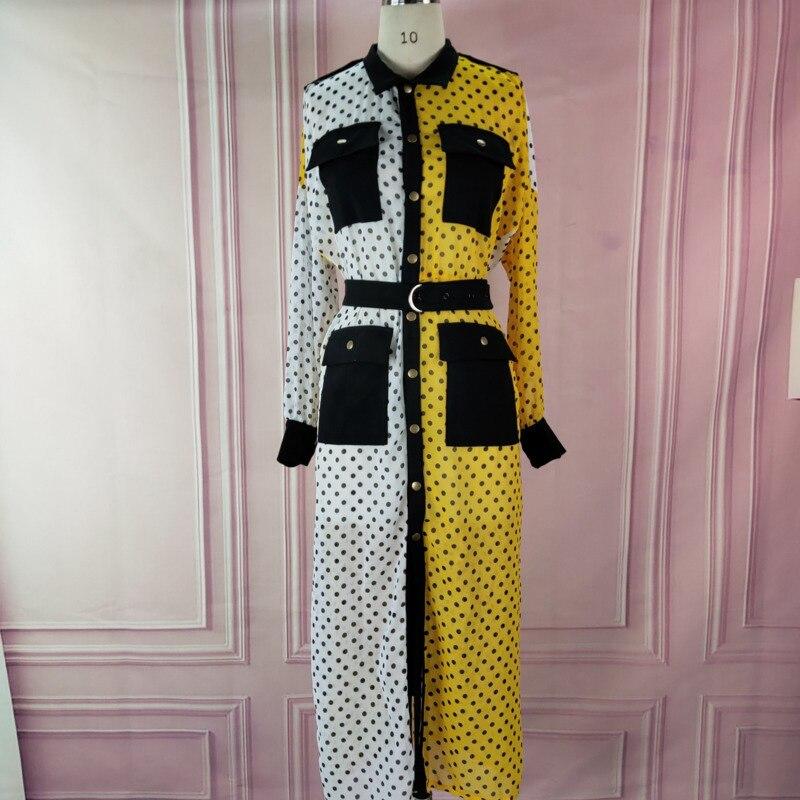 DEAT 2020 новое осенне-летнее платье-рубашка контрастных цветов с отложным воротником и длинными рукавами в горошек WJ77807XXL
