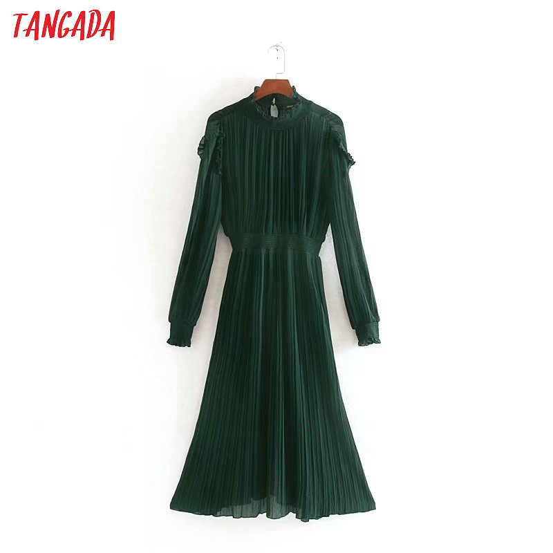 Tangada Women Vintage Green Ruffles Midi Dress Ruffles Stand Neck 2019 Fashion Ladies New Year Party Dress CE140