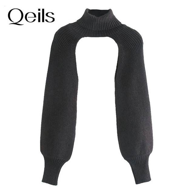 Qeils Women 2021 Fashion Arm Warmers Knitted sweater Vintage Turtleneck Long Sleeve Female Pullovers Chic Tops 5