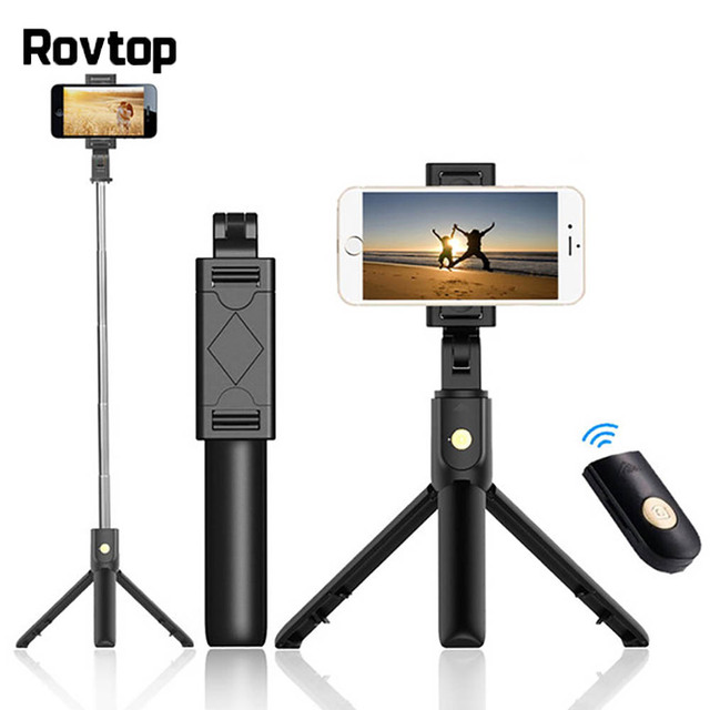 Rovtop بلوتوث Selfie عصا ترايبود التحكم عن بعد Monopod آيفون ترايبود صغير الهاتف جبل لسامسونج هواوي Gopro