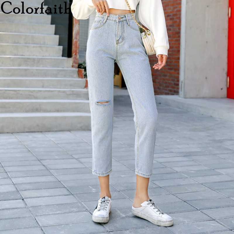Colorfaith 2019 Women Jeans Ripped Torn Casual Straight High Waist Trousers Pants For Ladies Grils Ankle Length Blue J9617