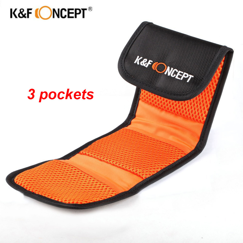 K&F CONCEPT 3 Pockets Lens Filter Bag Soft Camera Lens Filter Pouch For 49mm-77mm ND UV CPL Lens Filter Holder Wallet Case