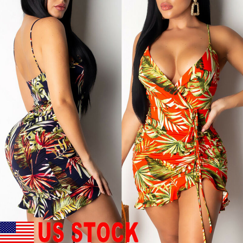 2019 Newest Hot Summer Women Sexy Short Mini Dress Strap Sleeveless V Neck Floral Party Beach Dresses Sundress