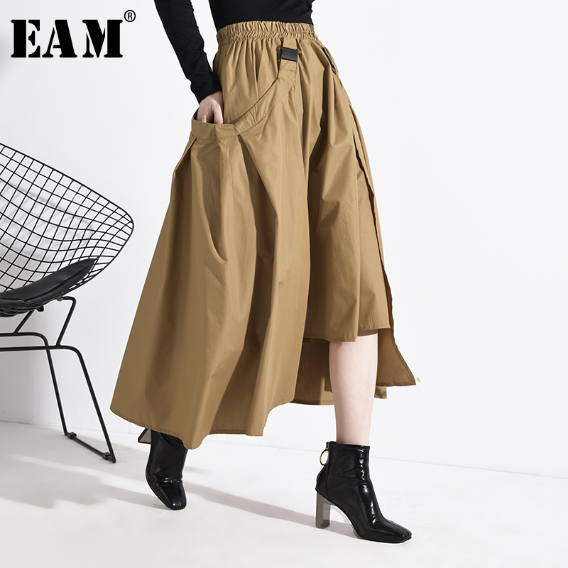 [EAM] High Elastic Waist Khaki Buckle Irregular Split Joint Half-body Skirt Women Fashion Tide New Spring Autumn 2020 1R10804