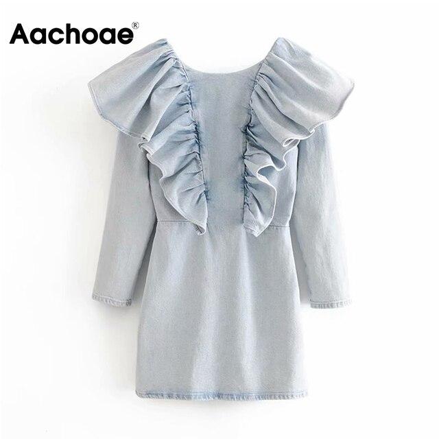 Aachoae volants O cou Cowboy Mini robe fermeture éclair manches longues robes Chic couleur bleu clair une ligne robe femmes Vestidos Mujer XS-L