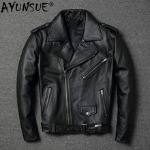 AYUNSUE 100% Real Cow Leather for Men Slim No Short Jacket Style of Vintage 2020