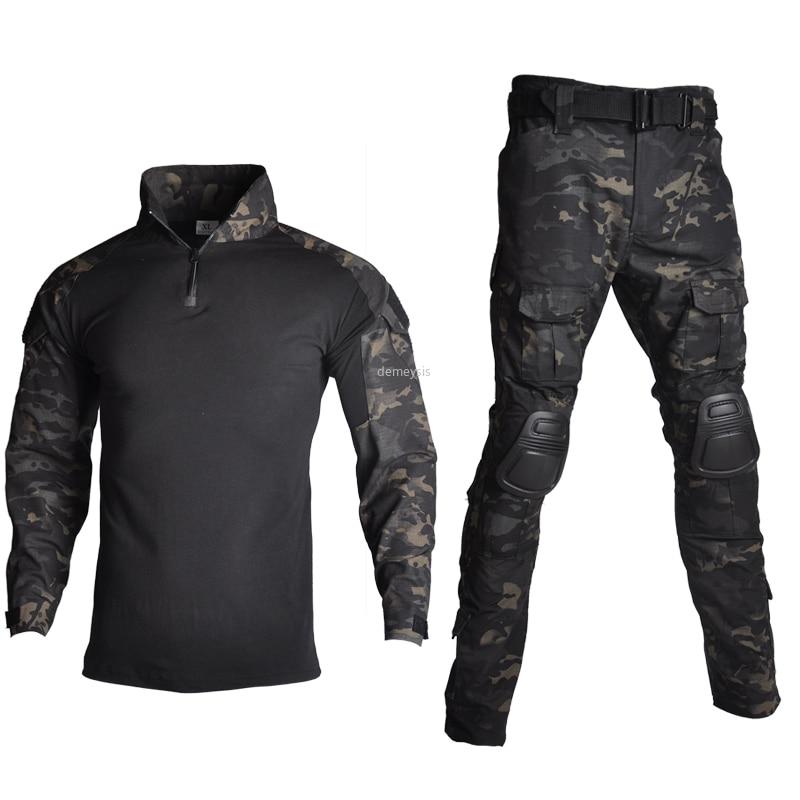 กลางแจ้ง Airsoft Paintball เสื้อผ้าทหารยิงยุทธวิธี COMBAT Camouflage เสื้อกางเกงข้อศอกข้อศอกเข่า Pads ชุด