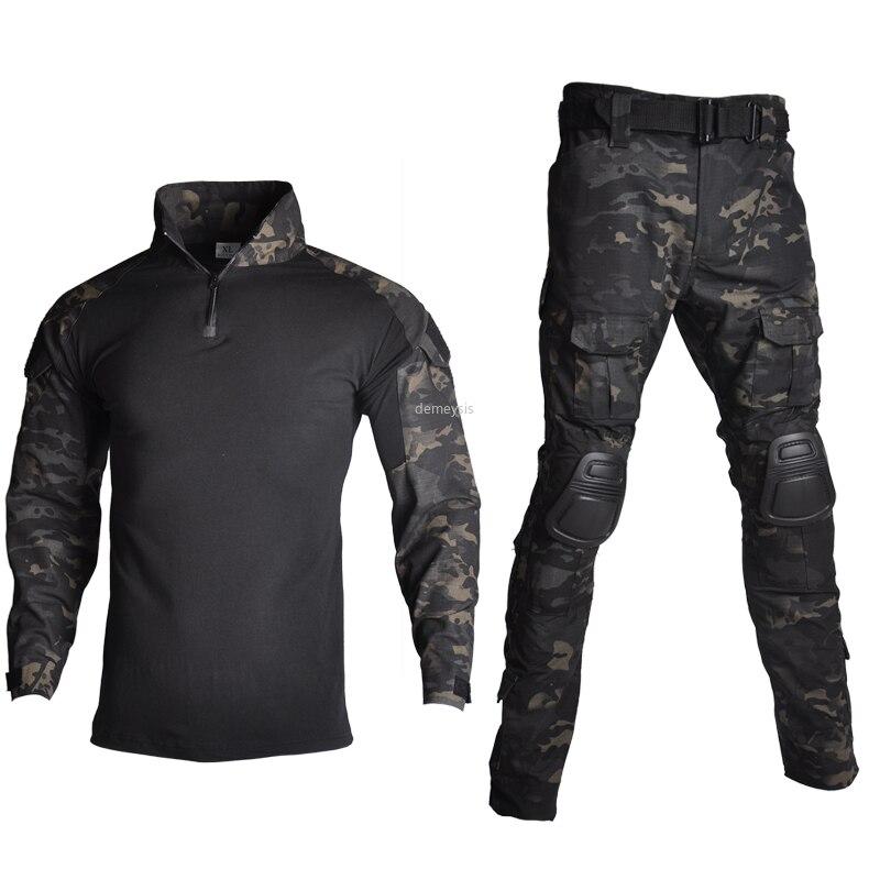 Açık Airsoft Paintball giyim askeri çekim üniforma taktik savaş kamuflaj gömlek kargo pantolon dirsek diz pedleri takım elbise