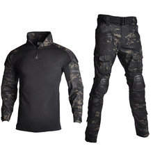 Outdoor Airsoft Paintball Kleding Militaire Schieten Uniform Tactical Combat Camouflage Shirts Cargo Broek Elleboog Knie Pads Suits(China)