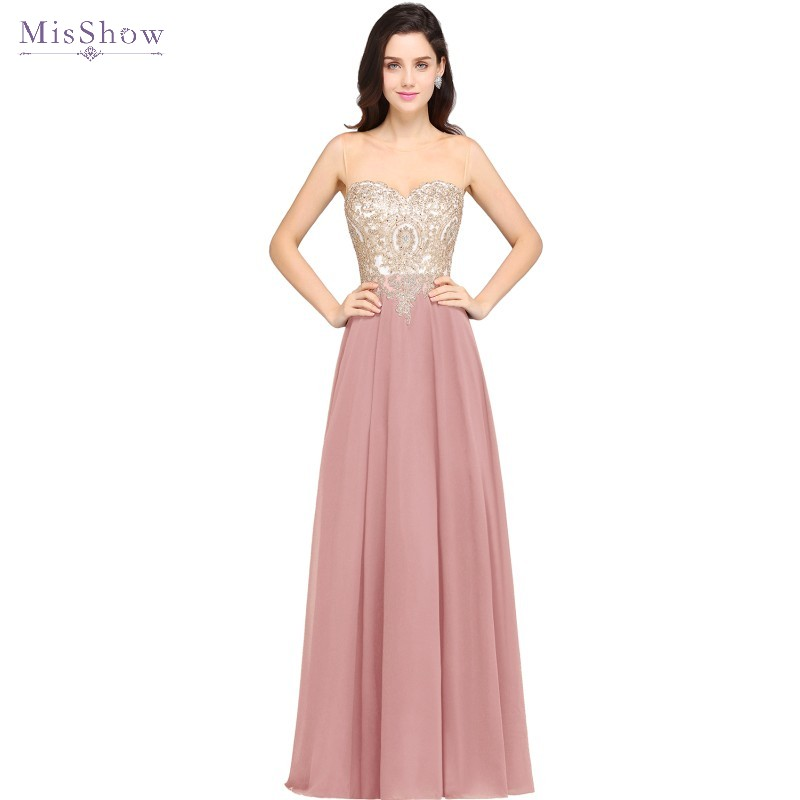 New Burgundy Scoop Neck Chiffon Long Evening Dresses 2019 A line Formal Dress Evening Gown Party