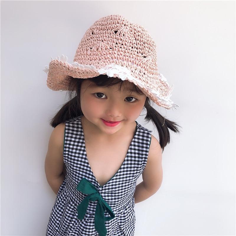 Chlidren Girls Summer sun hat Straw Hat Flower Bucket cap Lace Brimmed Foldable Protection Women Decoration Beach cap Visor in Women 39 s Sun Hats from Apparel Accessories