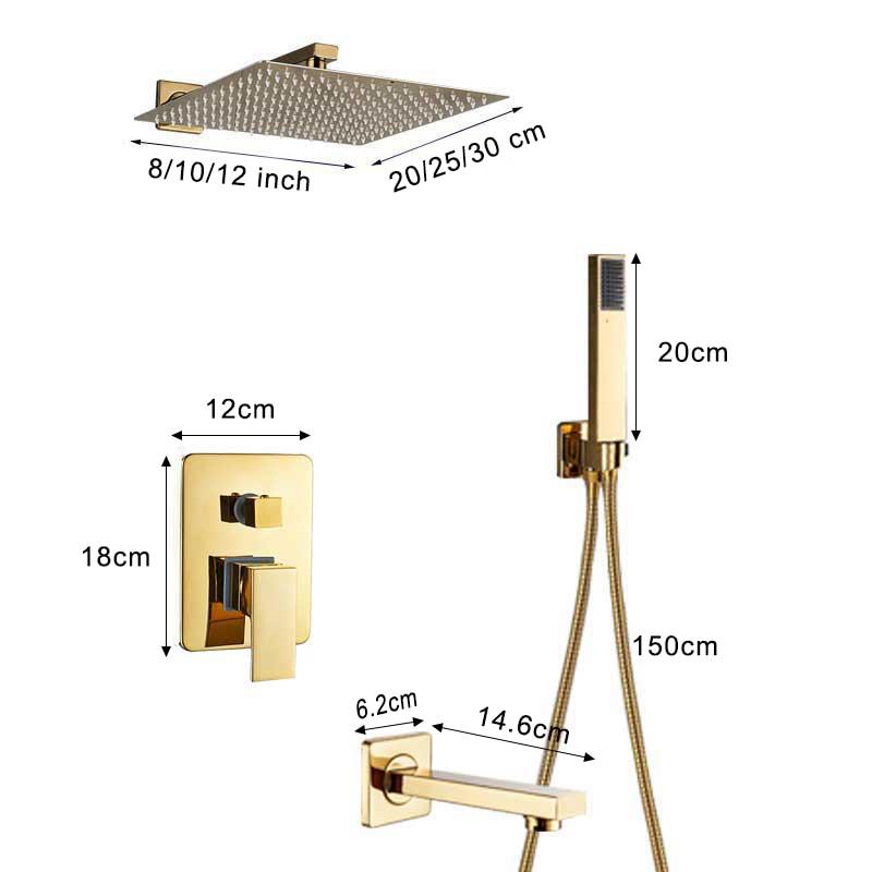 Shinesia Luxury Golden Modern Concealed Shower Faucet Set Hot Cold Water Mixer Value Brass 1 way 2 way 3way Mixer Bathroom Crane