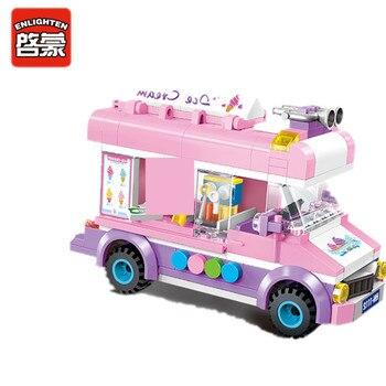 цена на Enlighten 213Pcs City Ice Cream Truck Car Building Blocks Sets Friends Playmobil Creator Bricks Educational Toys For Children