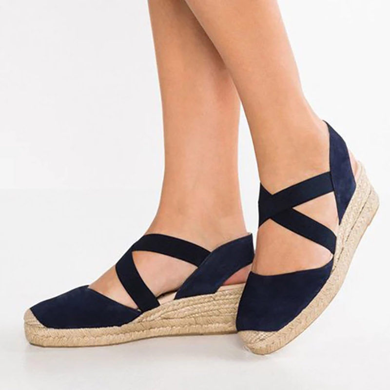 H6a8098979131416ca708cec050cb446e2 Women Wedges Sandals shoes woman Casual Summer Gladiator Retro Female Sandals Flock Ladies Party Office women Shoes dropshipping