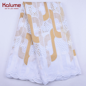 Kalume New Arrival African Swiss Cotton Lace Fabric Gold Nigerian Hole Swiss Voile Lace In Switzerland With Stone For Dress 1954(China)