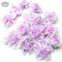 40pcs purple color organza ribbon flowers handmade apparel sewing accessories wedding decoration crafts A558