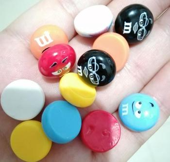Mini M Beans Resin Lovely Candy Flat back Cabochons DIY Scrapbooking Embellishment Craft Phone Decoration Kids Toys