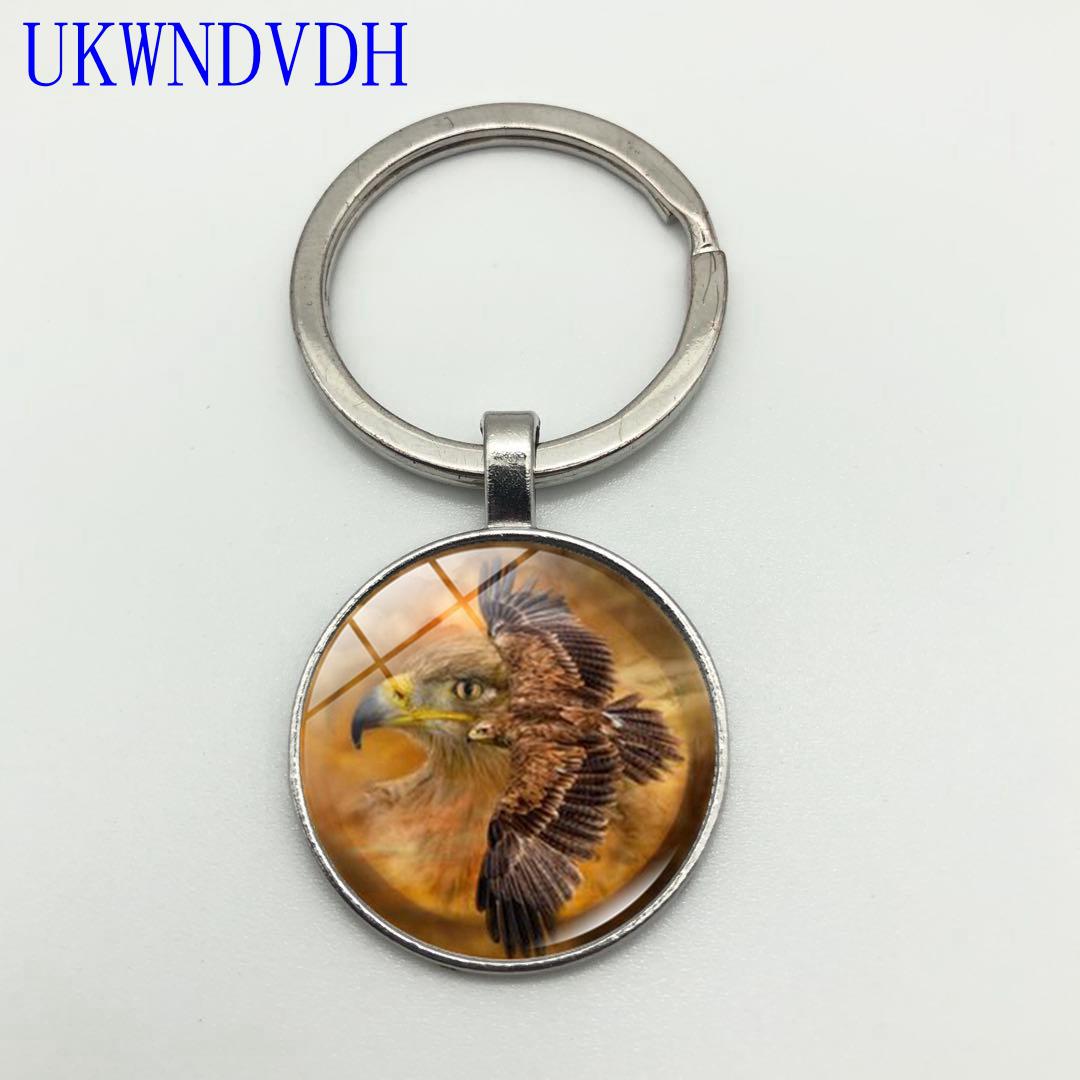 Eagle Spirit Fashion Creative Glass Pendant Keychain Vintage Eagle Keychain