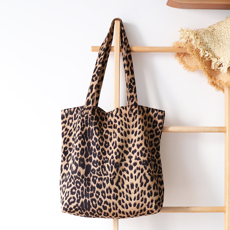 Totes Shopper-Bag Canvas Crossbody Large-Capacity Leopard Reusable Casual Women Grocery