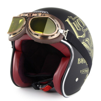 Motorcycle Helmet Chopper Retro Casco with Goggles Vintage Open Face DOT Casque Moto Cacapete Casco Harley helmet