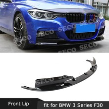 Per BMW Serie 3 F30 M Stile 2012-2018 Versione Sportiva Anteriore Lip Grembiuli Splitter Spoiler ABS Carbon Look car Styling nero(China)