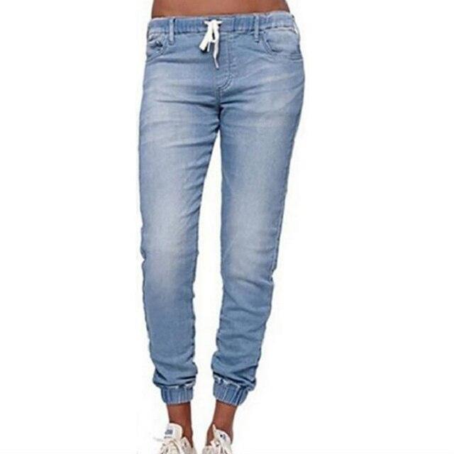 Mujeres, vaqueros de moda sólidos pantalones vaqueros de cintura elástica lápiz recto Pantalones de las mujeres pantalones casuales ropa de las mujeres 4